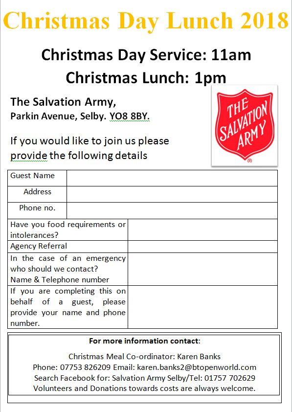 Salvation Army Christmas Day Lunch - Selby Advice   Selby Advice